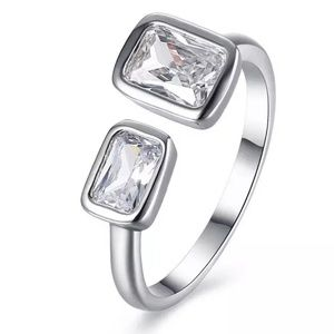 Platinum stainless steel cz Square ring